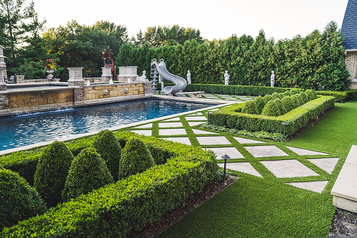 Backyard Pool Landscape Design with Artificial Grass from GroTurf, Inc.
