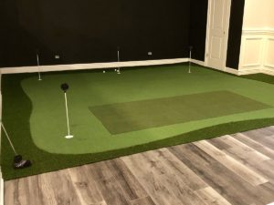 Golf Turf set up as an Indoor Putting Practice Area by GroTurf, Inc.