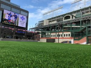 Artificial Grass installed outside Wrigley Field by GroTurf, Inc.
