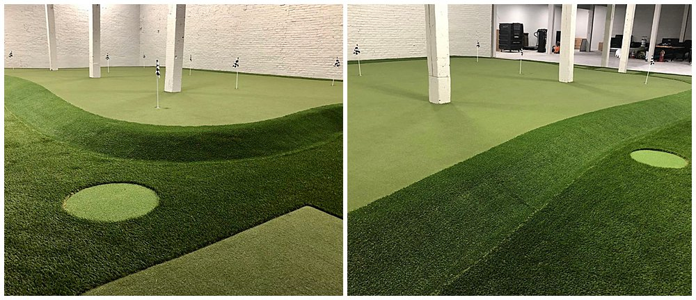 Louisville University's Golf Practice Facility with artificial turf. Designed by PGA Golf Pro Brian Groszek.