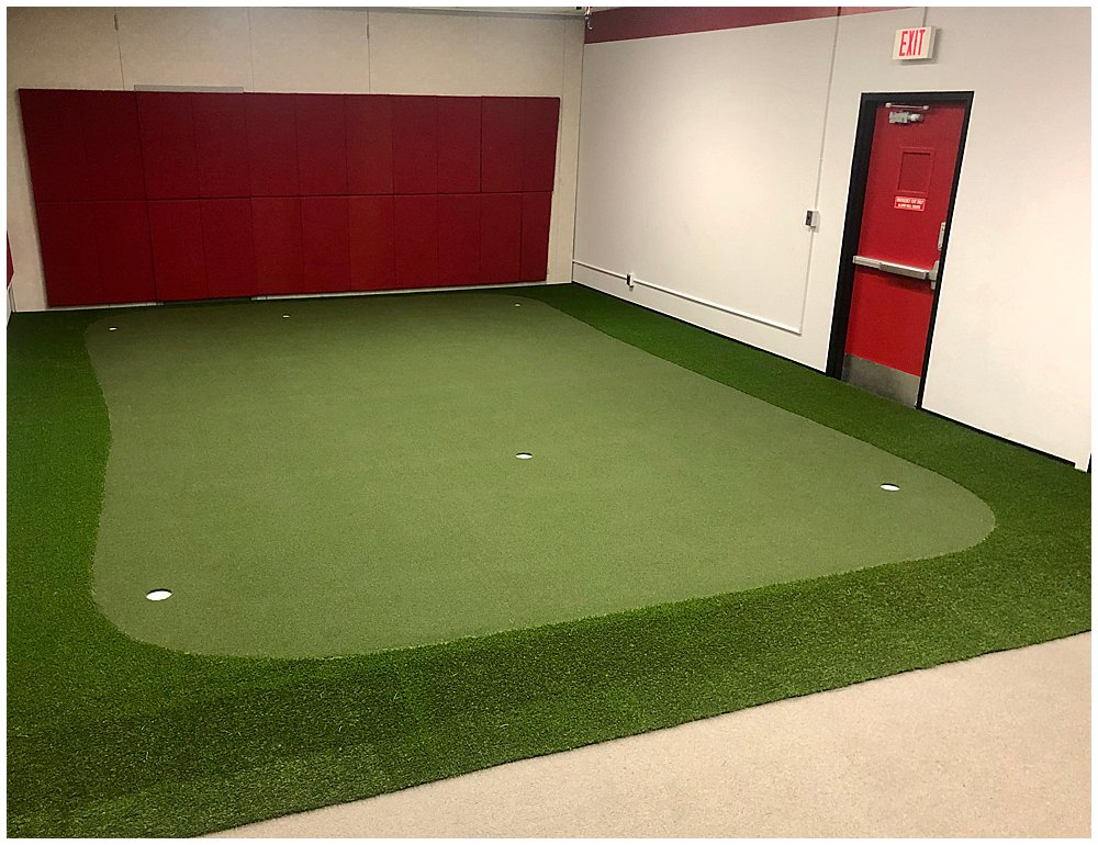 Northern Illinois University's Golf Practice Facility with artificial turf. Designed by PGA Golf Pro Brian Groszek.