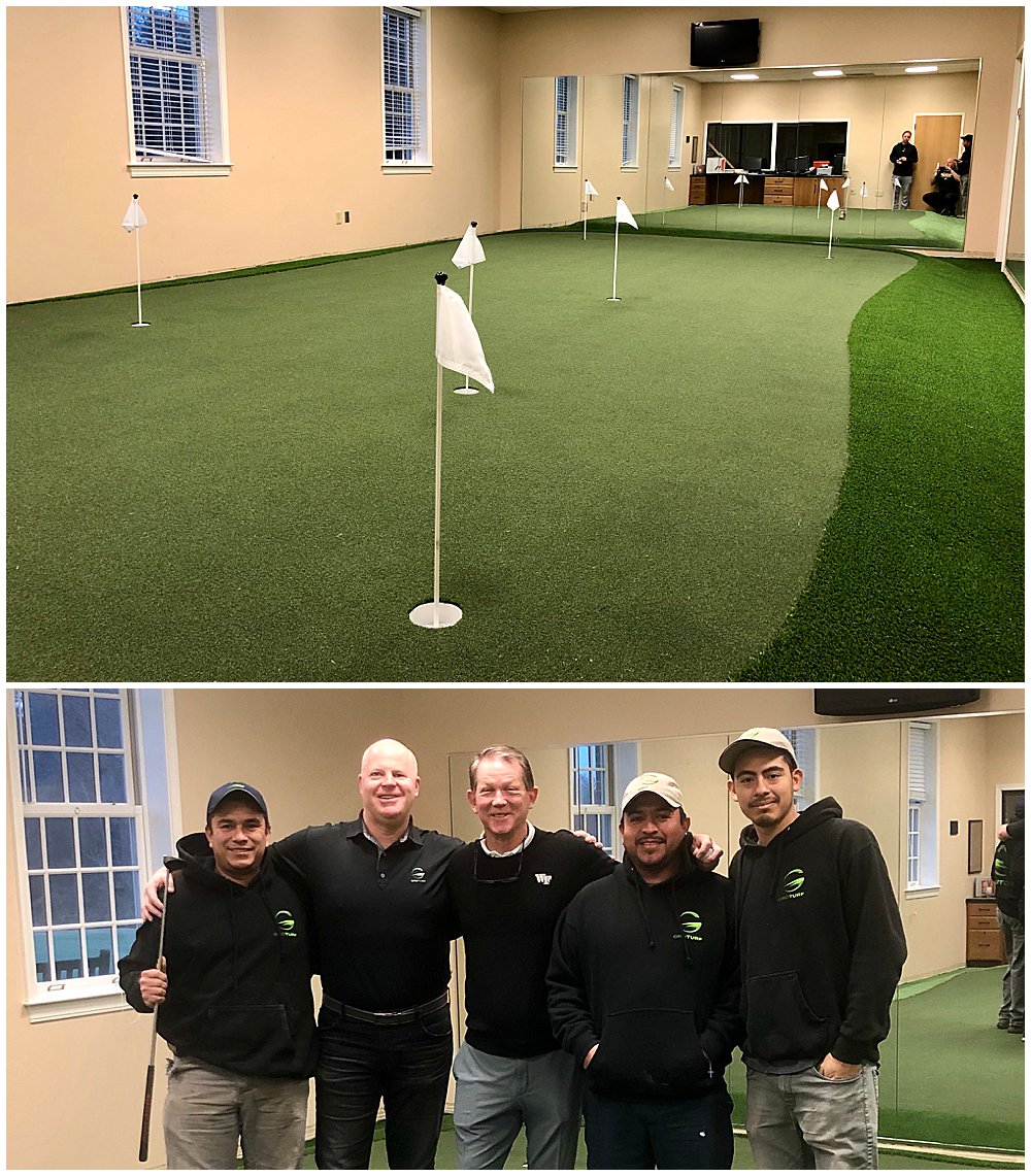 Indoor Putting Green Facility at Wake Forest University. Artificial grass installed by GroTurf.