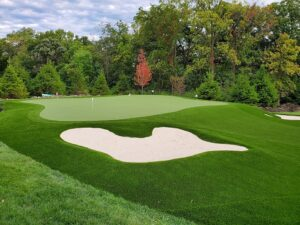A backyard putting green in the Chicago-area with a few flagged holes and a sandtrap in the foreground.